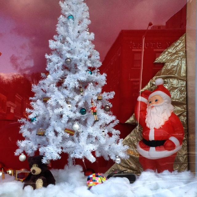 Tom's Toys Christmas Window display Great Barrington, MA