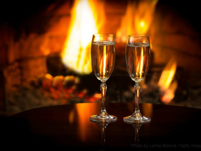 champagne and fireplace